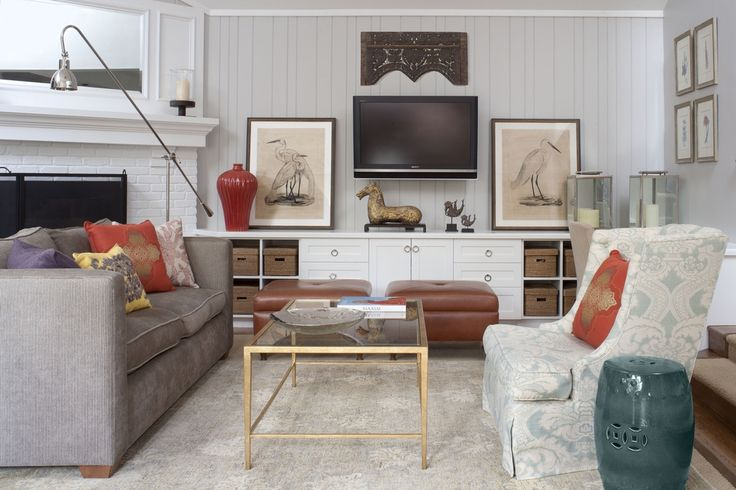 Contemporary Living Room with Crown molding, Taylor 2 Tier Rectangle Coffee Table, Room and board ian sofa, Carpet