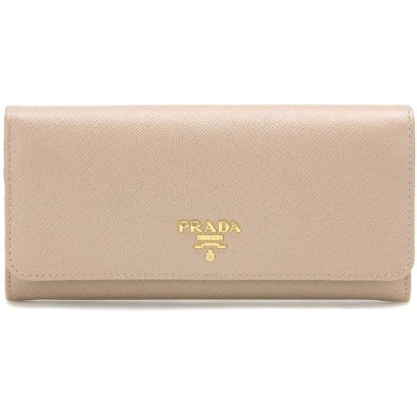 Prada Saffiano Leather Wallet ($655) ❤ liked on Polyvore featuring bags, wallets, beige, wallets & cases, prada bags, beige bag, prada, saffiano leather wallet and pink wallet