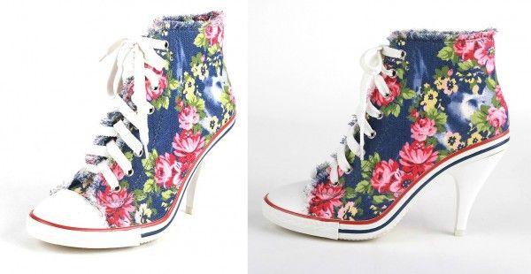 Hippe Jeans Spijker Hoge Hak Sneakers Vans Met Bloemen Print - Kleine maat damesschoenen laarzen pumps hakken 30 31 32 33 34 35 36 37 38 39 kleine maat schoenen