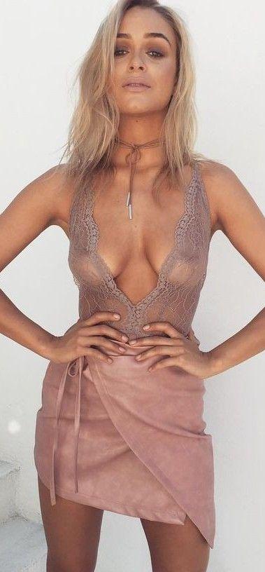 #summer #latest #trends |  Sheer Top + Pink Wrap Skirt