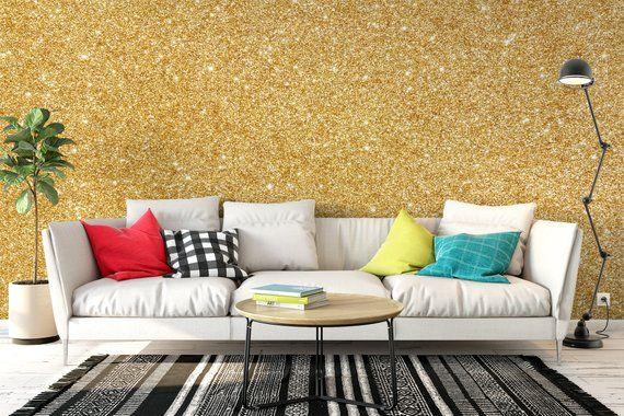 Golden Glitter Wallpaper Removable Peel Stick Removable Glitter Wallpaper Home Decor Wallpaper