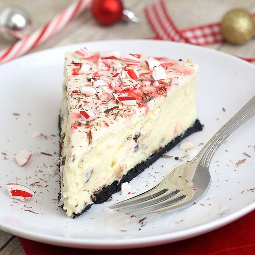White Chocolate Peppermint Bark Cheesecake // Baked by Rachel