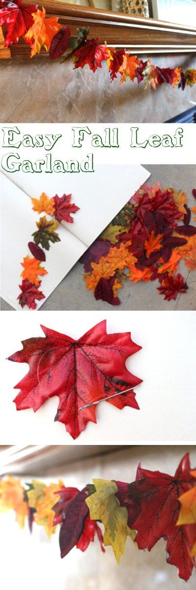 Easy Fall leaf garland tutorial using leaves from the dollartree!