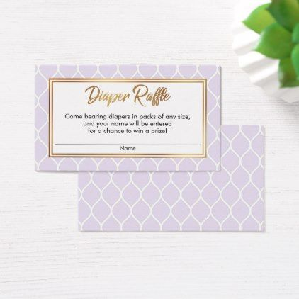 Lavender & White Ogee w Gold Diaper Raffle Tickets - script gifts template templates diy customize personalize special