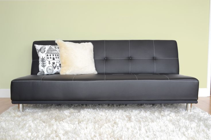 Brown Faux Leather Futon Sofa Bed