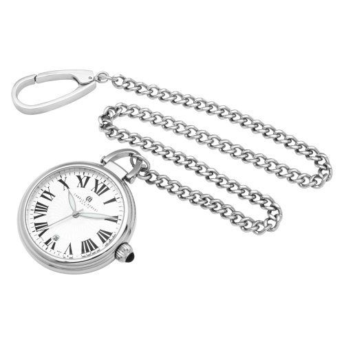 Charles-Hubert, Paris Stainless Steel Quartz Pocket Watch Charles-Hubert, Paris. $96.00. White dial with date display. Stainless steel 40mm open face case with a matching curb chain. Deluxe gift box. Japanese quartz movement