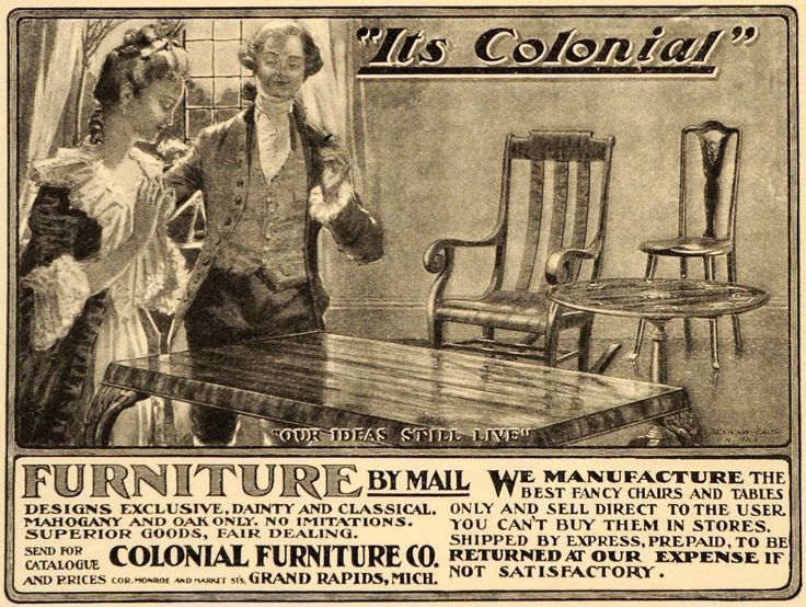 Colonial Furniture Chairs Advertisement From Grand Rapids Michigan.