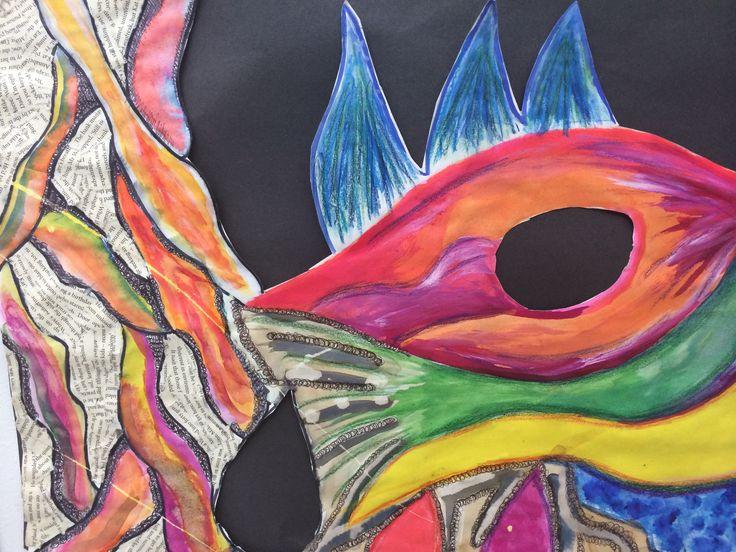 Vibrant paint and mixed media