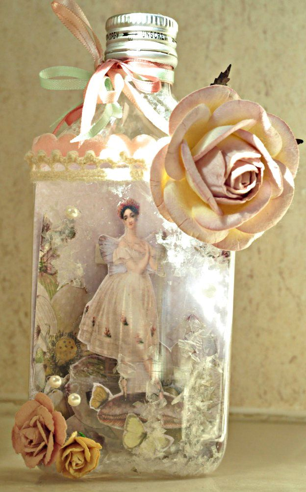 Altered bottled using Prima Marketing Fairy Belle Collection, Prima Flowers , Trims & Ribbons