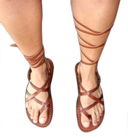 Brown Gladiator Leather Sandals for Men & Women Triple by SANDALI