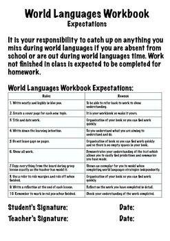 World Languages Workbook - Marking and Expectation File