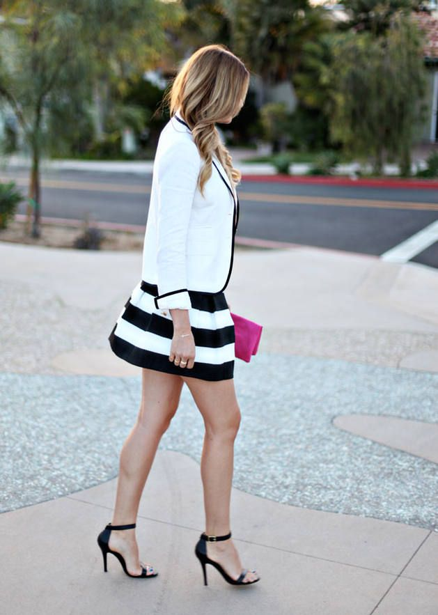 Pop Of Pink ,White Blazer, Black & White stripped skirt, Black sandals....