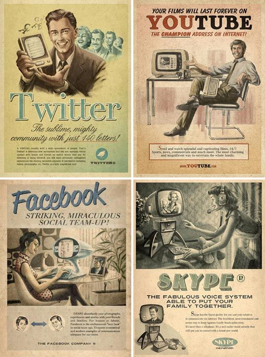 Vintage ads for You Tube, Twitter, Facebook, & Skype. I need these for my home office in poster size. Amazing.