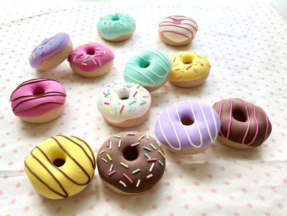 Set of 12 Polymer Clay Doughnut Sewing Pattern Weights | 12 x 30g | Great Gift for Sewists of All Abilities | Ideal for Birthdays