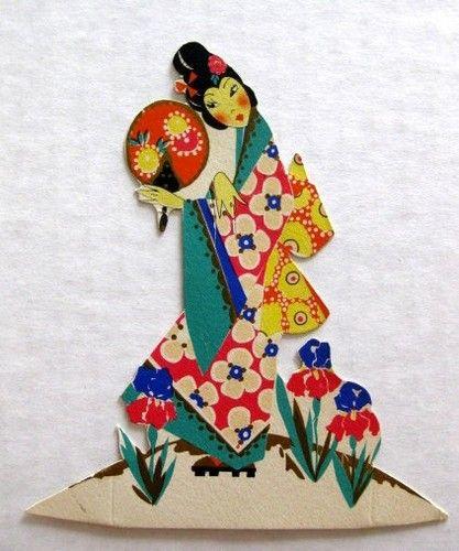 Vintage Bridge Tally Place Card w Asian Geisha Girl Holding Hand Fan   eBay..