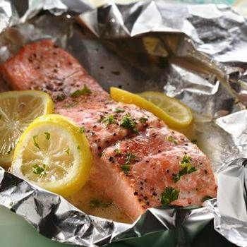 Grilled Lemon and Herb Salmon Packs recipe from Betty Crocker