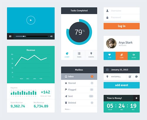This free set of flat web elements offers a login form, a countdown timer, chart, video player, and mailbox widgets.