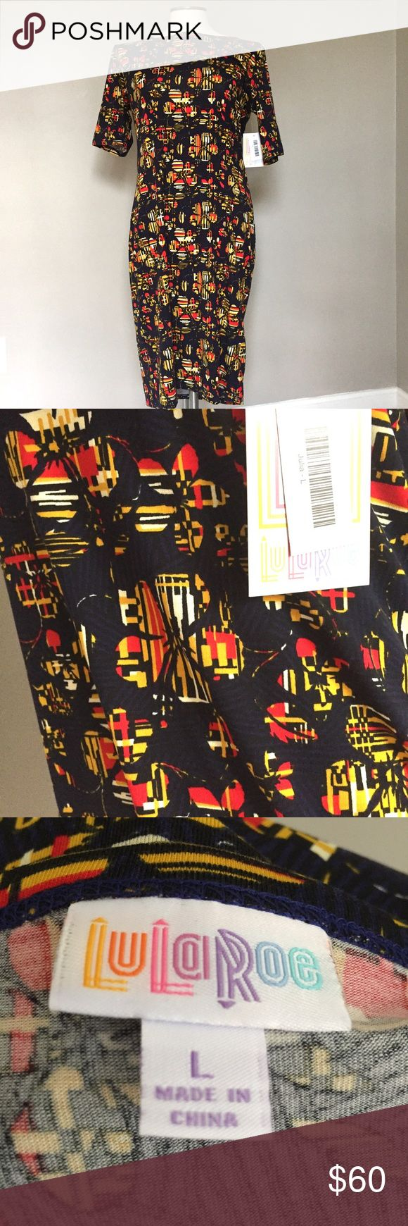 """Lularoe NEW Julia stretch bodycon floral dress L Brand new with tags.  The Julia dress is a form fitting, knee- length, knit dress with mid-length sleeves and a high neckline. Simple silhouette for casual days or dress up with accessories. All season wear perfect for layering.  Approximate flat lay measurements: Length: 40"""" Bust across pit to pit: 19"""" with stretch for more A LuLaRoe Dresses"""