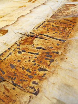 2nd October  Researching mark making with rust on textiles. This is some of  Jennifer Coyne's work. I am going to try this technique with some old bolts