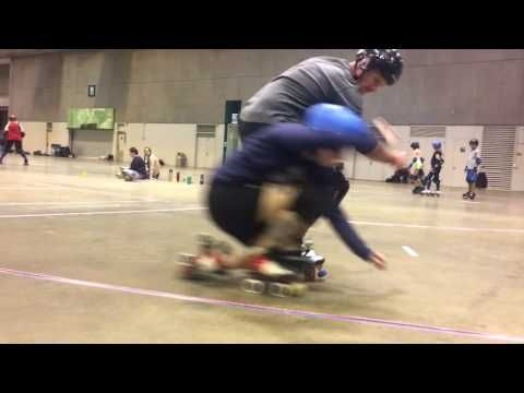 Getting low, dipping. Roller derby