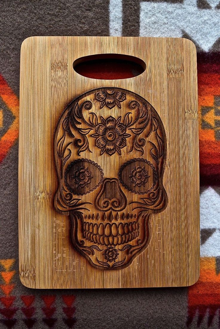 "CFK iPak Kitchen Chef Bamboo Cutting Board ""DAY OF THE DEAD"" Custom Display | eBay"
