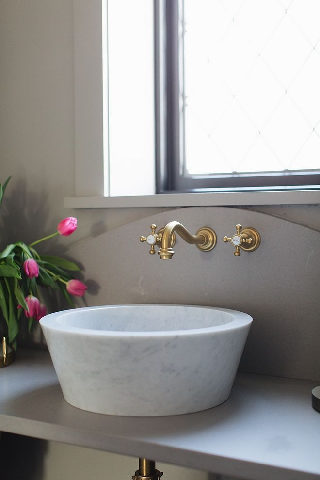 White Marble Bathroom Vessel Sink With Grey Quartz Countertop And Brass Wall Mount Faucet All Sourc Marble Bathroom White Marble Bathrooms Vessel Sink Bathroom