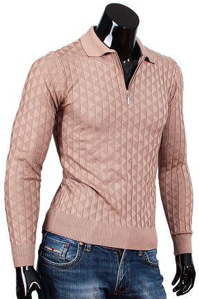 Купить Коричневая мужская рубашка поло с длинным рукавом недорого в Москве