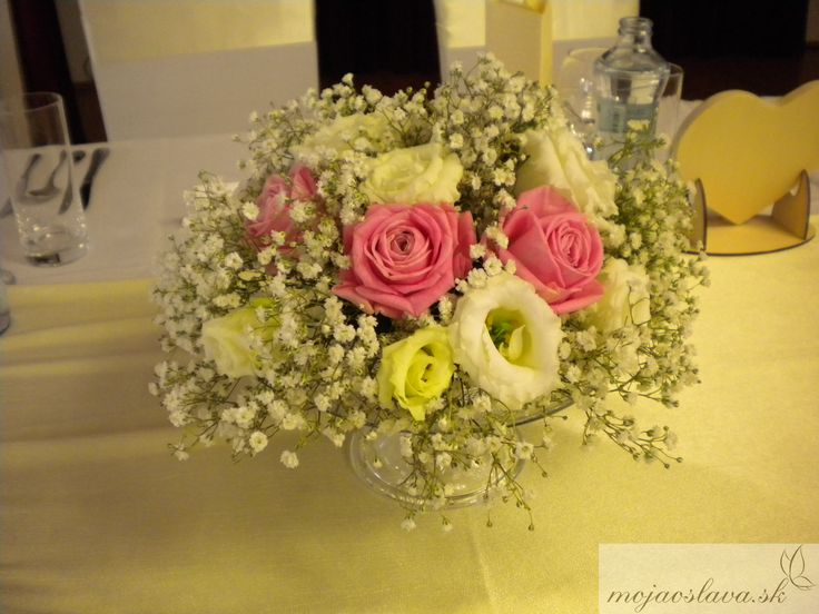 white gypsophila with white eustoma nad pink roses
