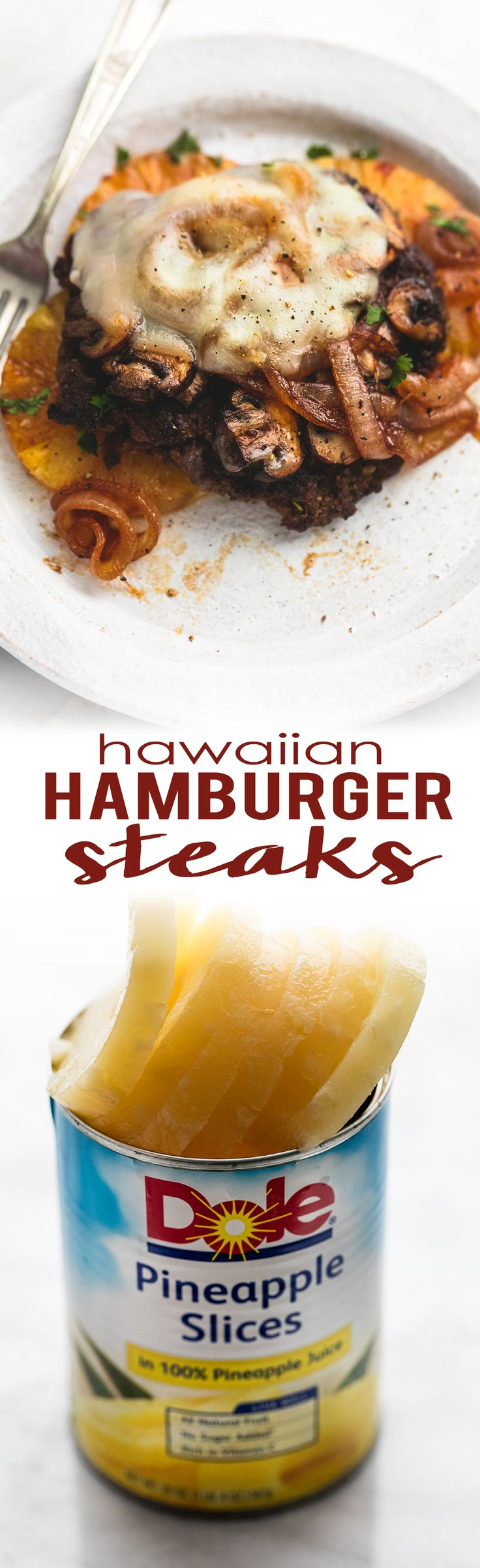 Easy 30 minute Hawaiian Hamburger Steaks with juicy pineapple and smothered in melty provolone cheese. | lecremedelacrumb.com