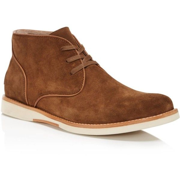 John Varvatos Star Usa Brooklyn Chukka Boots ($228) ❤ liked on Polyvore featuring men's fashion, men's shoes, men's boots, nutmeg brown, mens leather boots, mens chukka shoes, mens brown boots, mens leather chukka boots and mens brown leather shoes