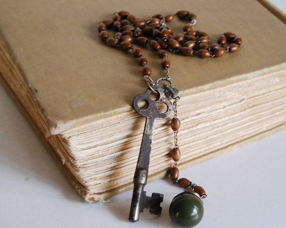 Vintage Rosary Necklace Green Bakelite Ball by CalloohCallay, $52.00