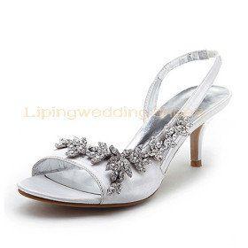 White Satin Wedding Sandals With Rhinestones Low Heel Bridal Shoes