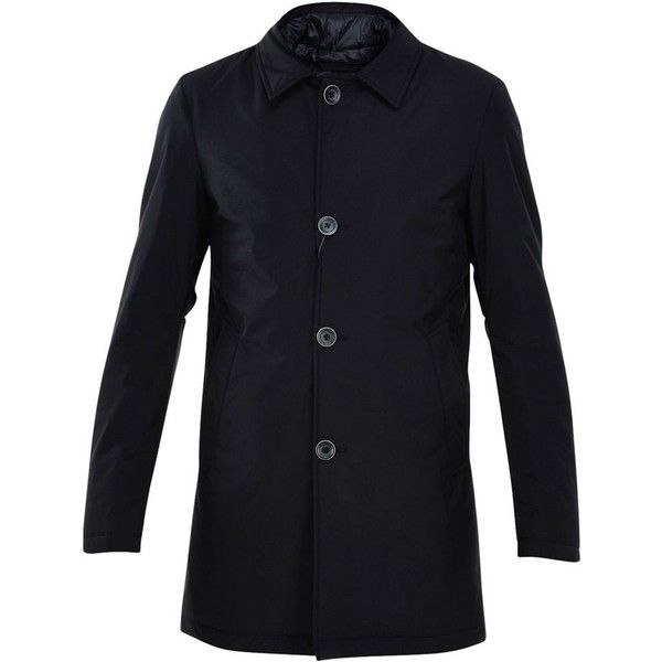 Herno Padded Trench Coat (2.230 RON) ❤ liked on Polyvore featuring men's fashion, men's clothing, men's outerwear, men's coats, blu, mens fur collar coat, mens trench coat and mens blue trench coat