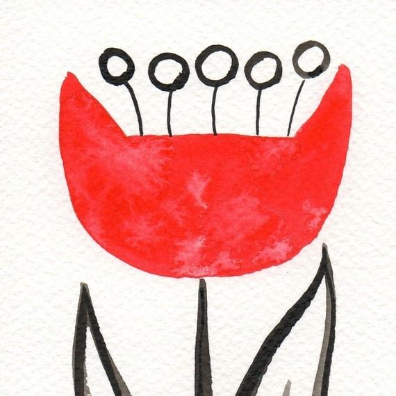 Red Scandinavian Tulip  ACEO Print of an by printmakerjenn on Etsy, $3.00