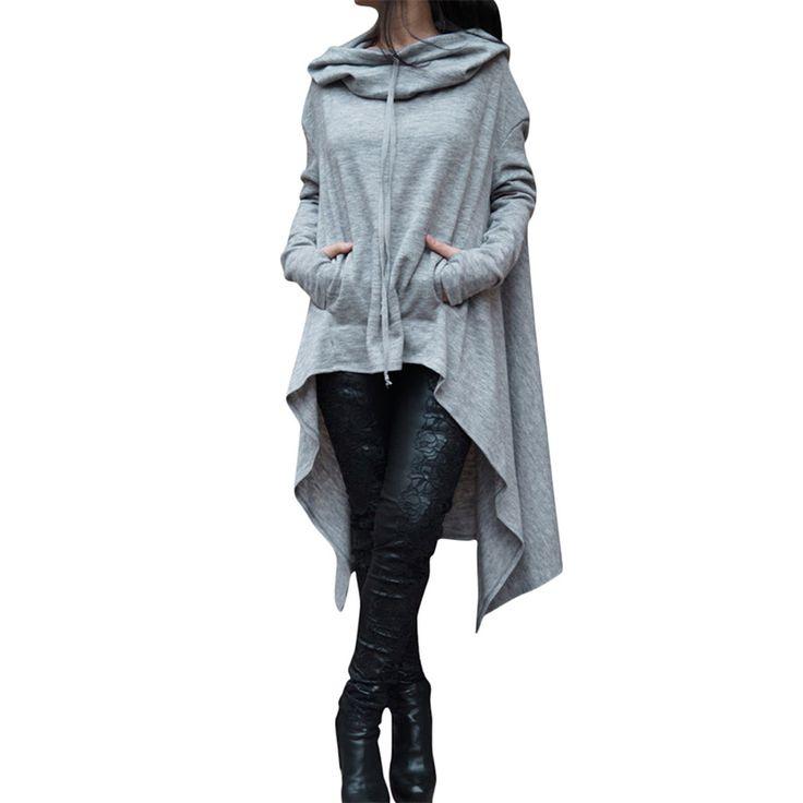 Осенние повседневные толстовки длинный рукав ворс куча воротник с капюшоном Асимметричная Толстовка для женщин; Большие размеры Длинный свитшот