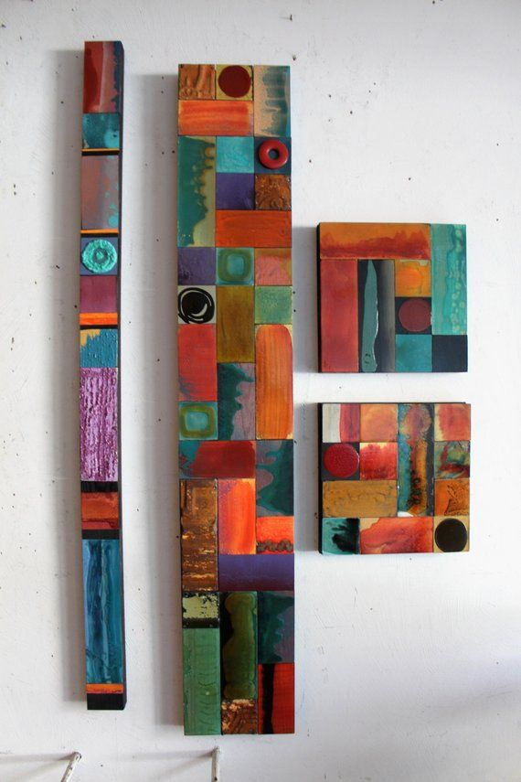 Tribal Abstract Textured Totems Wall Metal Wood Hanging Etsy In 2021 Wood Art Wood Wall Art Stick Art