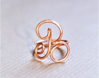 Initial ring letter R ring personalized wire initial by JavaJanes