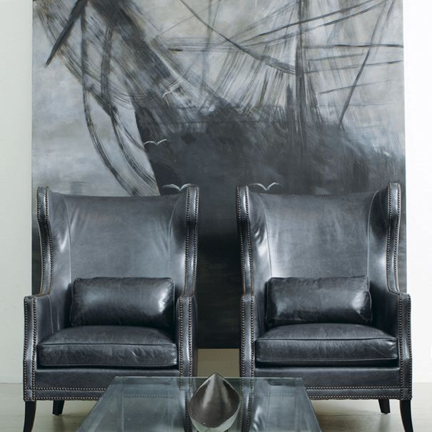 Bernhardt Interiors | Kingston Wing Chairs, In Steel Gray Aniline Leather  And Nickel Nails