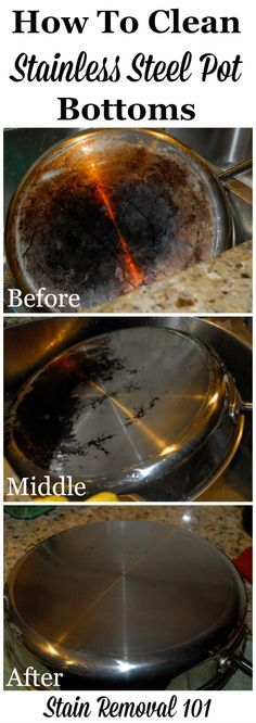 How to use Bar Keepers Friend to clean stainless steel pot bottoms {on Stain Removal 101}