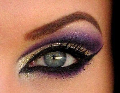 Liquid eyeliner, love the silver & purple