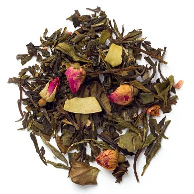 DAVIDsTEA Cherry Blossom. White tea, green tea, cherries, coconut chips, rosebuds, natural and artificial cherry flavouring.