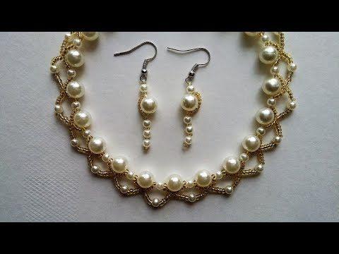 beaded wedding necklace pattern - YouTube