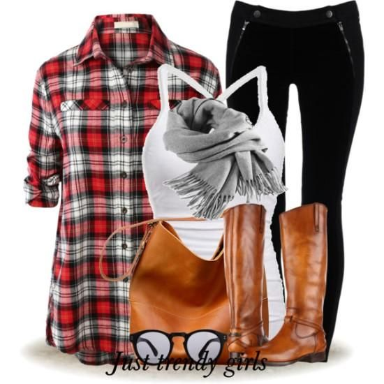 plaid shirt with cognac boots and bag, Winter wardrobe essentials for Women http://www.justtrendygirls.com/winter-wardrobe-essentials-for-women/