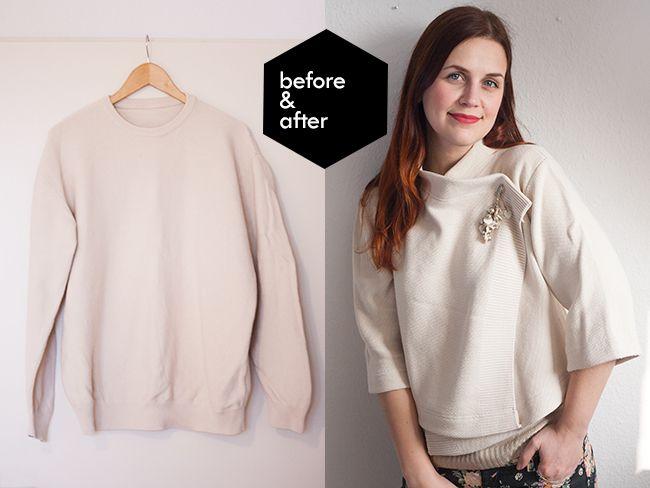 Refashionista // suéter en cardigan recortada | Perlas y Tijeras
