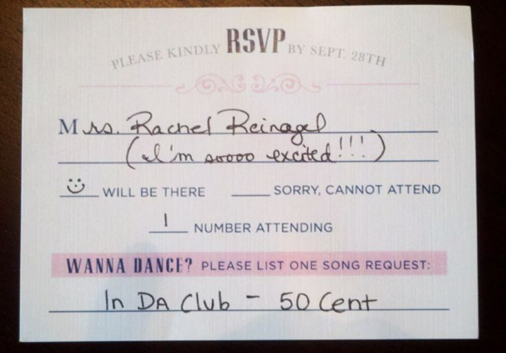 "Genius idea! Have a ""song request"" line on your wedding RSVP cards."