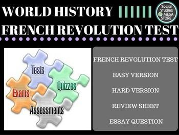 French Revolution Test and Quizzes  BOOK:  Prentice Hall World History The Modern World THE FIRST SEMESTER OF WORLD HISTORY THE WHOLE YEAR OF WORLD HISTORY  Here is what is included:  - French Revolution Test / Quizzes- Paragraph Ideas - World History pacing Guide - 3 Essays for each unit- Common assessment - Review sheet / Test key *************************************************************************** - 1.
