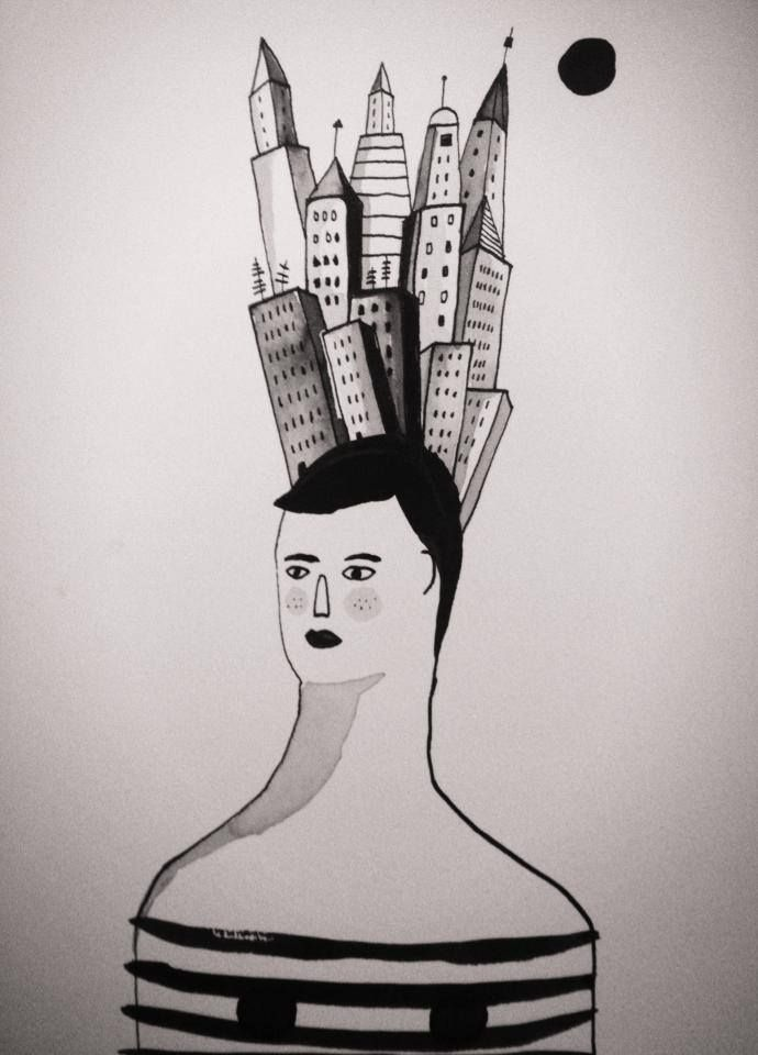 città in testa. Settembre. #illustration #portrait #ink #woman #handmade #black&white #illustrazione #china  #city
