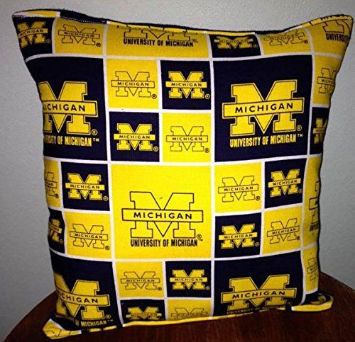 "Handmade Michigan University Pillow Football Pillow Pillow NCAA HANDMADE In USA Pillow is approximately 10�20X 11"" ."