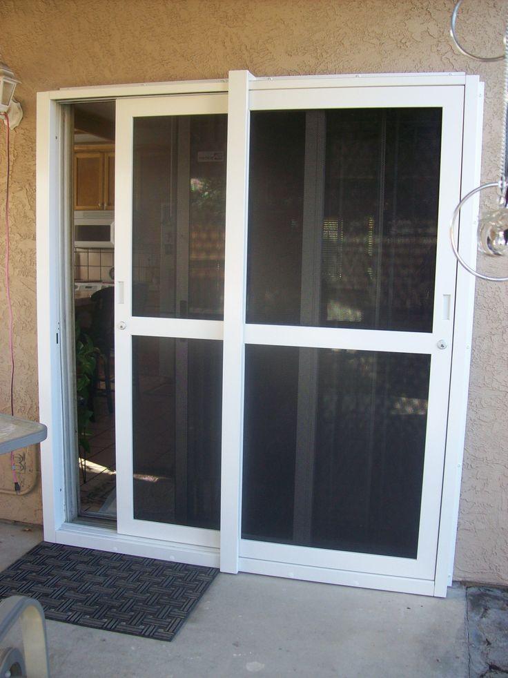 White Sliding Security Screen Doors