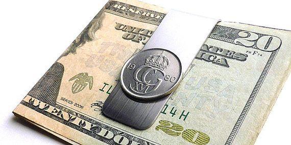 Swedish Coin money clip 1980 Men's wallet Men's